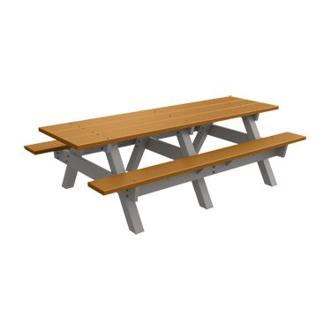 8' Recycled Plastic Traditional Picnic Table - Cedar - Gray Frame