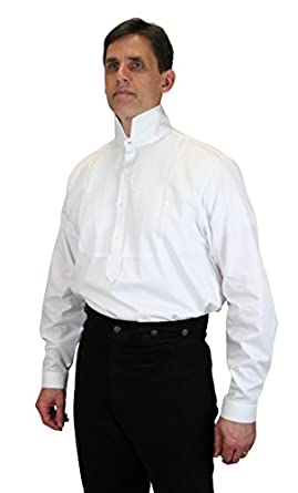 Men's Steampunk Clothing, Costumes, Fashion Victorian Collar Formal Dress Shirt $62.95 AT vintagedancer.com