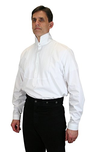[Historical Emporium Men's Viceroy Victorian High Collar Dress Shirt M White] (Sweeney Todd Halloween)