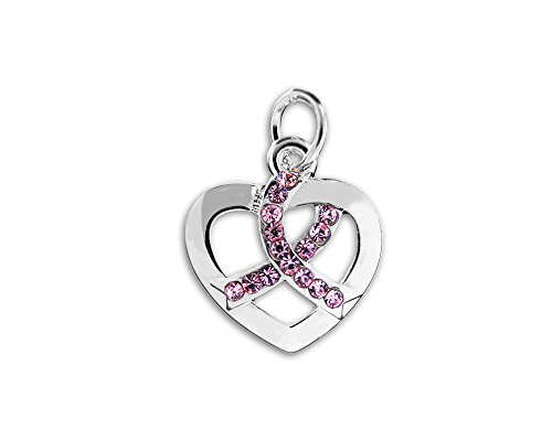 (Fundraising For A Cause Crystal Pink Ribbon Silver Heart Charm (Retail))