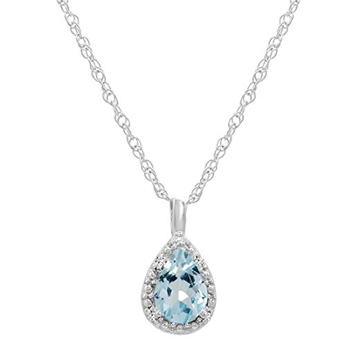 Aquamarine 14k Gold Pendant Necklace - 14K White Gold Pear Aquamarine Pendant (2/3ct. 18