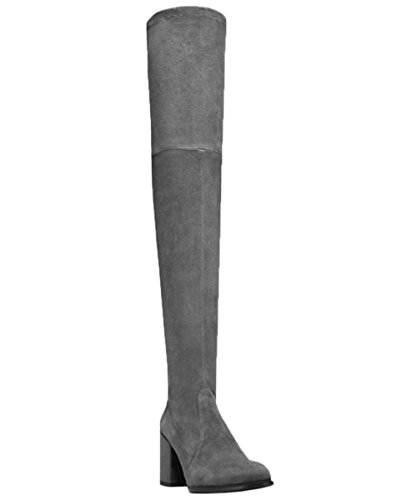 HooH Women Thigh High Boots Suede Splicing Lace Up Chunky Over The Knee Boots Grey DtUuJWg