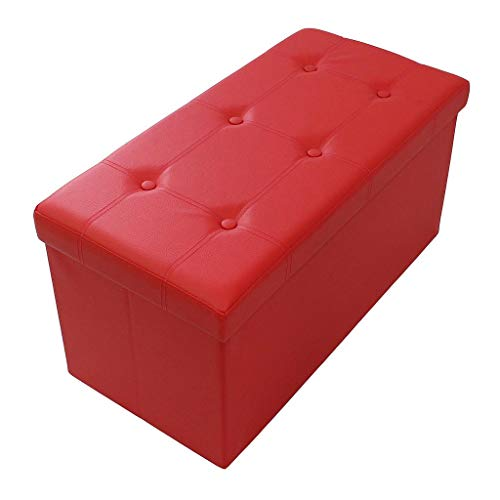 Todeco - Almacenamiento Banco, Almacenamiento Otomano Plegable de Cuero - Carga maxima: 150 kg - Material: Imitacion de Cuero - Acabado Cosido y copetudo, 76 x 38 x 38 cm, Rojo