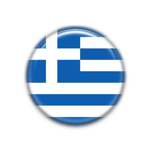 Grecia : Bandera Nacional, Pinback Button Badge 1.50 Inch (38mm)