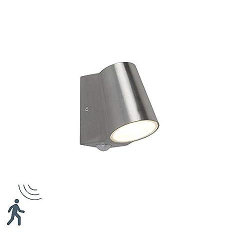 QAZQA Moderno Aplique moderno aluminio con detector de movimiento IP44 LED - UMA/Vidrio Otros