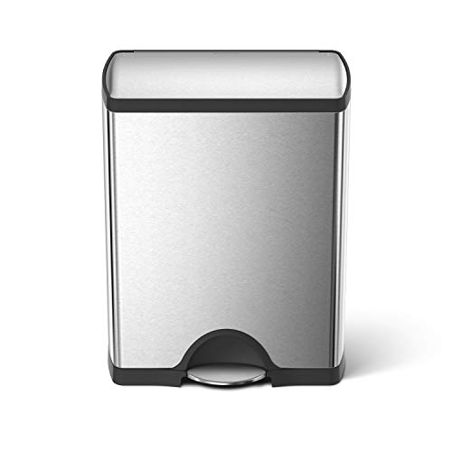 simplehuman 46 Liter / 12.2 Gallon Stainless Steel Rectangular Kitchen Dual Compartment Step Trash Can Recycler, Brushed Stainless Steel