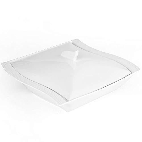 Malacasa 10 Inch Porcelain Soup Pot with Lid Square Dish Soup Bowl 48-Ounce for Soup Salad Barbecue Serving - White
