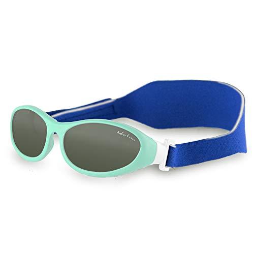 Idol Eyes Kids Sunglasses for Kids - Baby Wrapz Baby Sunglasses with Strap for Ages 0-2 with 100% UV Protection + Adjustable Baby Sunglasses Strap (Baby Blue)