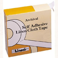 Lineco Self-Adhesive Hinging Tape Roll, Acid-Free Linen Fabric, 1.25 inches X 150 Feet (L533-1055), White,