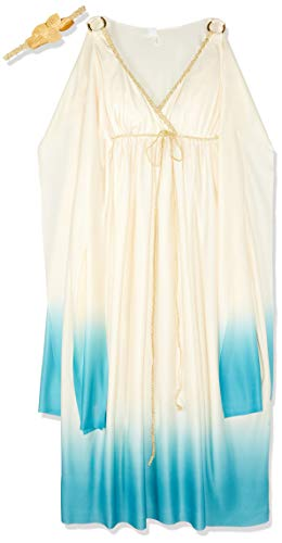 Fun World Greek Goddess Costume, Cream/Light blue, Small/Medium 2-8 ()