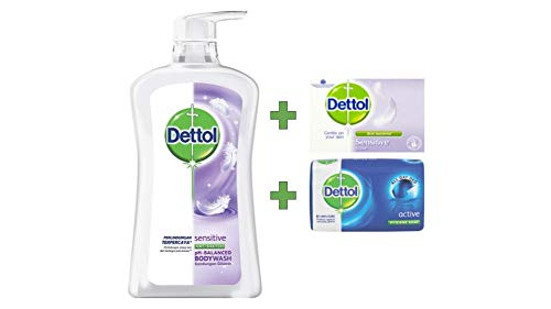 Dettol Anti Bacterial pH-Balanced Body Wash, Sensitive, 21.1 Oz / 625 Ml (Pack of 2) ()