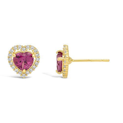Lavari - 1.00 cttw Halo Heart 5MM Rhodolite Garnet 14K Yellow Gold Stud Earrings