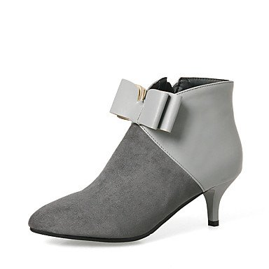 CN40 Bowknot Zipper Party US8 Leatherette RTRY amp; Gray Evening UK6 Stiletto 5 Boots Heel Women's Booties Pointed Dress Bootie EU39 Ankle 5 Boots For Shoes Winter Toe 6wOwqaF