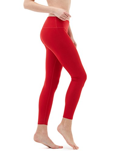 TSLA Yoga Pants Mid-Waist/High-Waist Tummy Control w Side/Hidden Pocket Series, Inner Pocket Thick Midwaist(fyp51) - Red, Large (Size 10-12_Hip41-43 Inch)