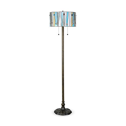 Serena Du0027italia Tiffany Style Lamps, Blue Contemporary Floor Lamp, Mosaic  Stained Glass Lamp And Bronze Finish ...