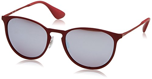 Ray-Ban Erika Metal RB3539 9023B5 Non-Polarized Sunglasses, Bordeaux/Pink Silver Mirror 54 - Round Ray Ban Mirror Pink Metal