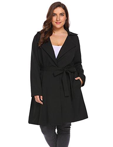 IN'VOLAND Women's Plus Size Hooded Long Adjust Ribbon Trench Outwear Windbreaker -