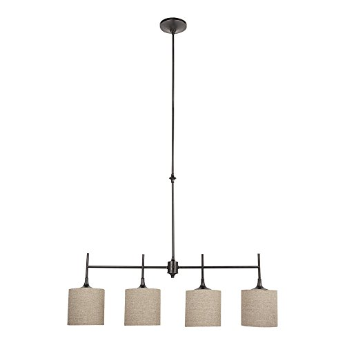 (Sea Gull Lighting 66952-710 Stirling Four-Light Island Pendant with Satin Etched Glass Diffusers and Beige Linen Fabric Shades, Burnt Sienna Finish)