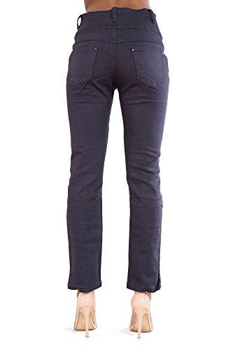 Donna Blue Vita Pantaloni Elastico Dritto Cut Alta Magro A Jeans Denim wppEr