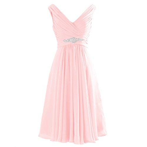 Knee V Bridesmaid Chiffon Corset Prom Line Pink Short Neck Beaded Lemai Light A Length Dresses qZUwI5x5