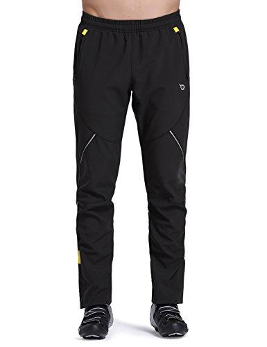 Baleaf Men's Cycling Bike Fleece Thermal Windproof Winter Pants Zip Pocket Black Size L
