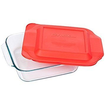 Pyrex 8 Inch Square Baking Dish with Red Lid