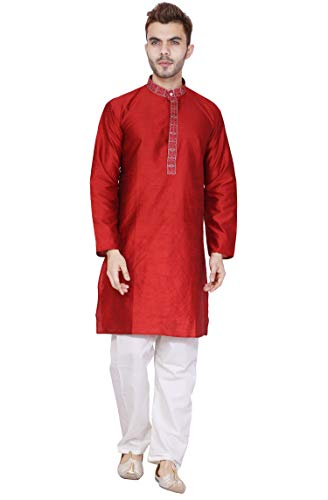 Long Sleeve Button Down Shirt Embroidered Mens Kurta Pajama Set Red Indian Wedding Party Dress ()