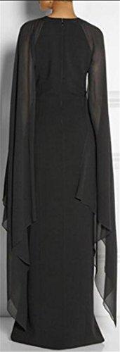 Accept Color Solid Black Dresses Maxi Waist Neck Chiffon Women Jaycargogo Crew Patchwork 7X6OOq