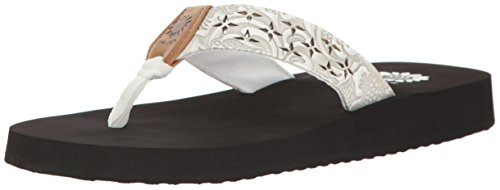 (Yellow Box Women's Benji Wedge Sandal, White, 8 M US)