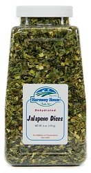 Harmony House Foods Dried Jalapeno Peppers, diced (6 oz, Quart Size Jar) for Cooking, Camping, Emergency Supply, and More