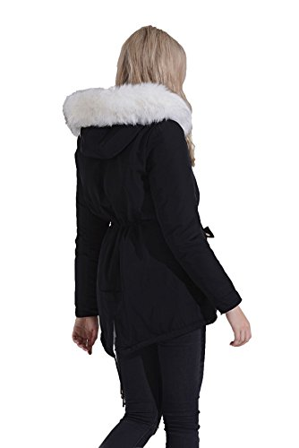 Con White Fur Black Lining Zip Cappotto Womens Winter Shelikes Caldo Faux Cappuccio xnOpOf