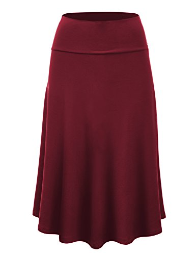 Lock and Love WB1105 Womens Lightweight Fold Over Flared Midi Skirt XL ()
