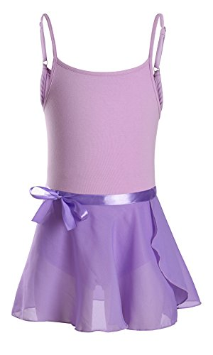 DANSHOW Girls' Camisole Tutu Dress Leotard with Skirt (6-8, Purple)