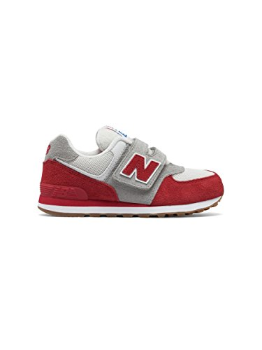 New Balance Unisex-Kinder 574 Hook and Loop High Visibility Sneakers, BIANCO ROSSO
