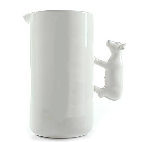 Milk Jug Ceramic 1200ml, Suitable for Coffee, Latte and Frothing Milk, Wedding Housewarming (Personalizzata Cucchiaio Da Bambino)