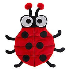 - TOP PAW Red & Black Ladybug Plush, Squeaker Mat Dog Toy