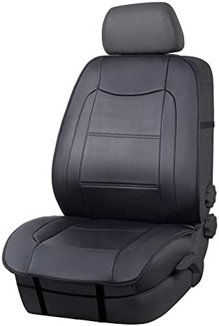 Amazon Basics Deluxe Sideless Universal Fit Leatherette Seat Cover without Headrest, Black