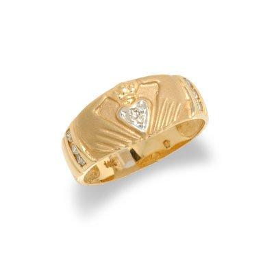 14K Yellow Gold Mens Diamond Claddah Ring Size 11