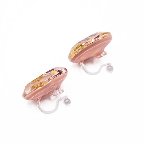 European country style dried flower earrings - pink - Japan design - cute - new - anti-allergic (silicone clip-on) New Cute Japan