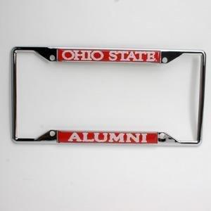 ohio state buckeyes alumni metal license plate frame wdomed insert red background
