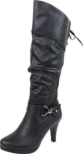 - Cambridge Select Women's Back Corset Lace Platform High Heel Knee-High Boot,8 B(M) US,Black PU