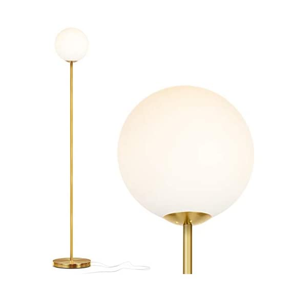 Brightech Luna – Frosted Glass Globe Floor Lamp – Mid Century Modern Standing Lighting for Living Rooms, Gets Compliments – Indoor Pole Light for Bedroom & Office – LED Bulb- Antique Brass/Gold
