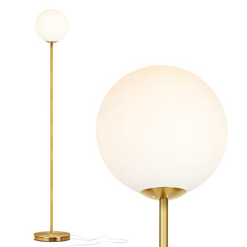 Brightech Luna - Frosted Glass Globe LED Floor Lamp - Mid Century Modern, Standing Lamp for Living Rooms - Tall Pole Light for Bedroom & Office - with LED Bulb - Antique Brass - Gold Torchiere Lamp