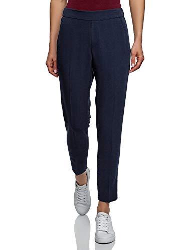 oodji Ultra Women's Slim-Fit Trousers with Elastic Waistband, Blue, ()