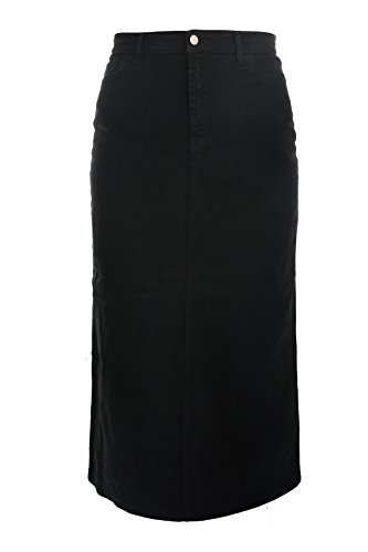 Ice Cool Ladies Women's Black Stretch Denim Maxi Skirt Sizes 8 to 32