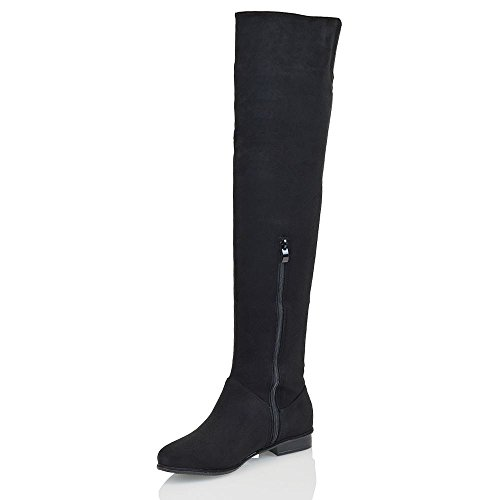 e78f38dc6 durable service WOMENS OVER THE KNEE HIGH FLAT LADIES LONG FAUX SUEDE THIGH  HIGH BOOTS SIZE
