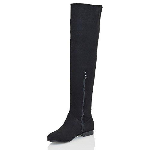 Essex Glam Damen über dem Knie hohen Flache Veloursleder-optik Oberschenkellange Stiefel Schwarz Wildlederimitat