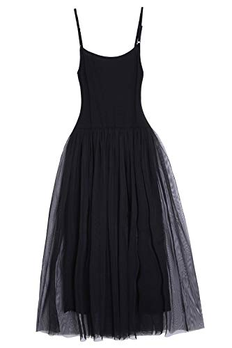 Women Midi Length Tulle Skirt Sleeveless High Waisted Tutu Party Dress Black