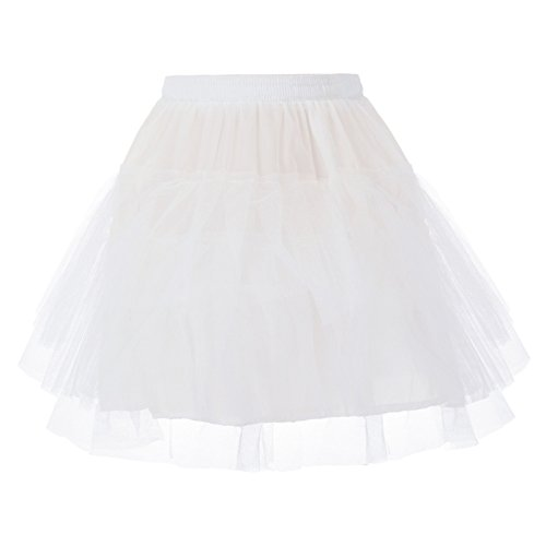 Girl White 3 Layers Organza Toddler Puffy Tutu Skirts 10-12 Y DB01-2 ()