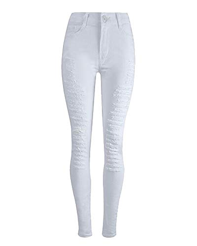 Femmes Pieds Taille Haute Blanc Pantalon Pantalon Dchiquets Leggings Blanc Fit Stretch Slim Jeans Loisirs Crayon Skinny et Collants rnOwrqxf